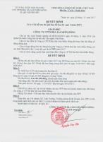 Quyết định Chi hỗ trợ chi phí hao bể bao bì quý 3 năm 2017